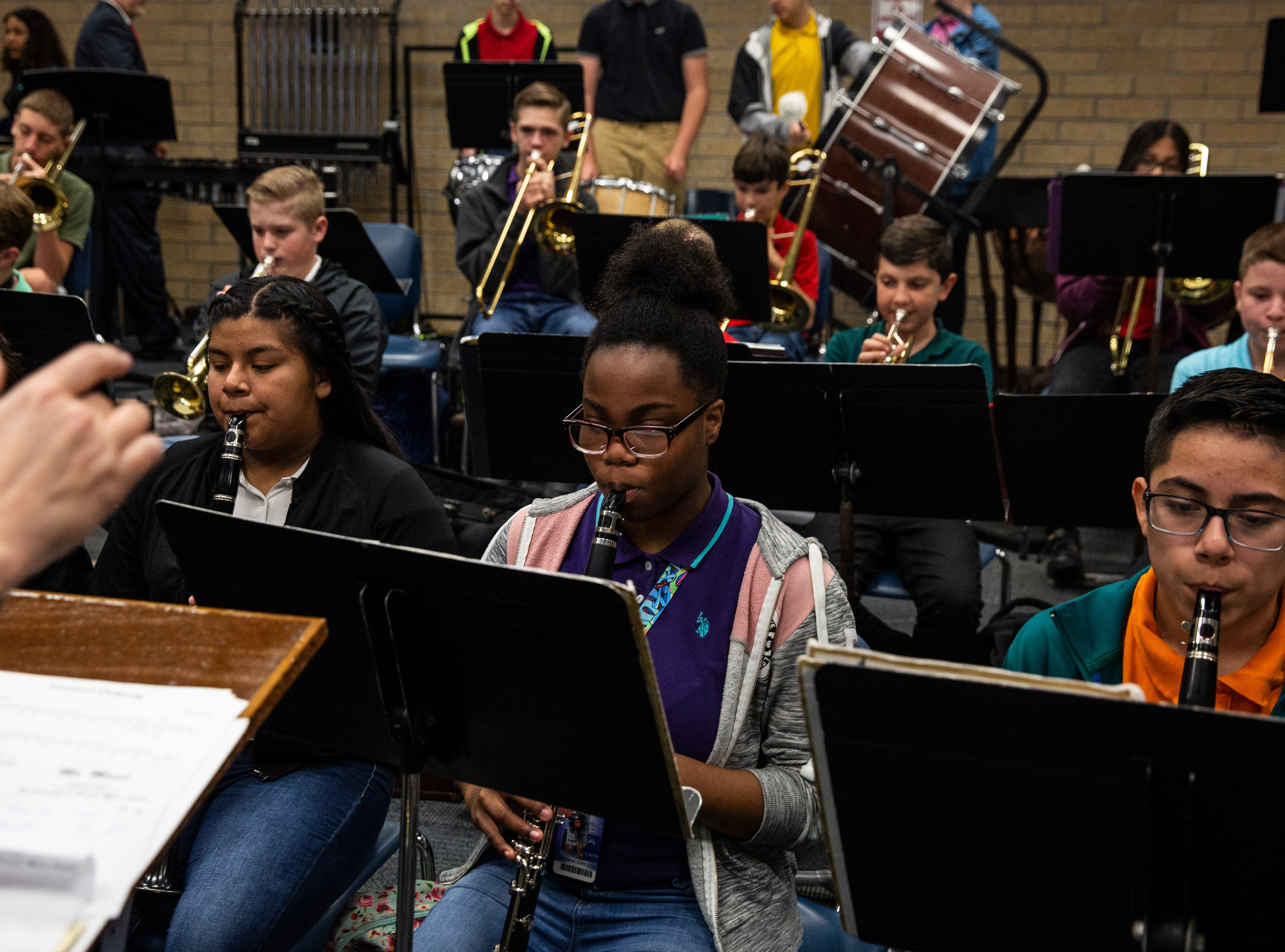 "The Bonita Springs Middle School band performs to celebrate social worker Paul Milford's award of ""School-related Employee of the Year"" award at Bonita Springs Middle School in Bonita Springs on February 5, 2019."