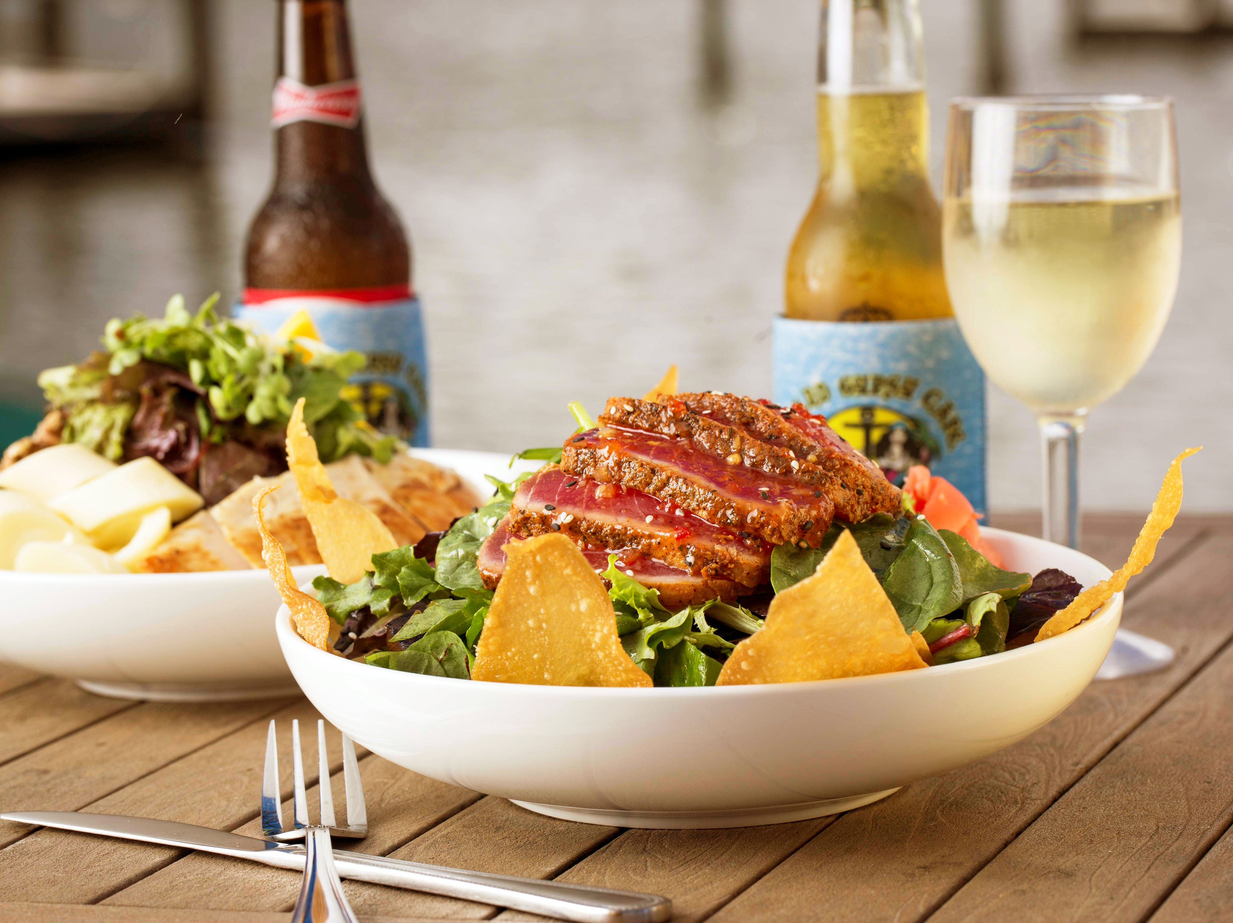 Dayle's Tuna Wonton Salad features seared ahi tuna and crispy wontons at Island Gypsy Poolside Cafe in Naples.