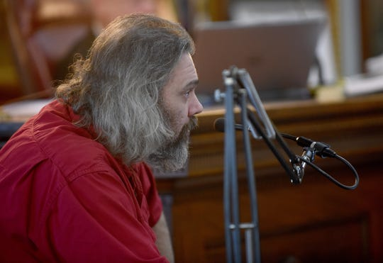 Richard Mosholder testifies in court on Tuesday, Feb. 5, 2019 in the trial of 21-year-old Tyler Ocasio, who is accused of firing the gun that killed David Barcus in an attempted robbery in January 2018.