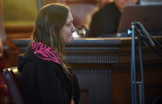 Kathy Mosholder recounts comforting her friend David Barcus in his final moments during her testimony in court on Tuesday, Feb. 5, 2019. Kathy Mosholder was one of three residents there the night David Barcus was shot and killed in the Cherry Street home.