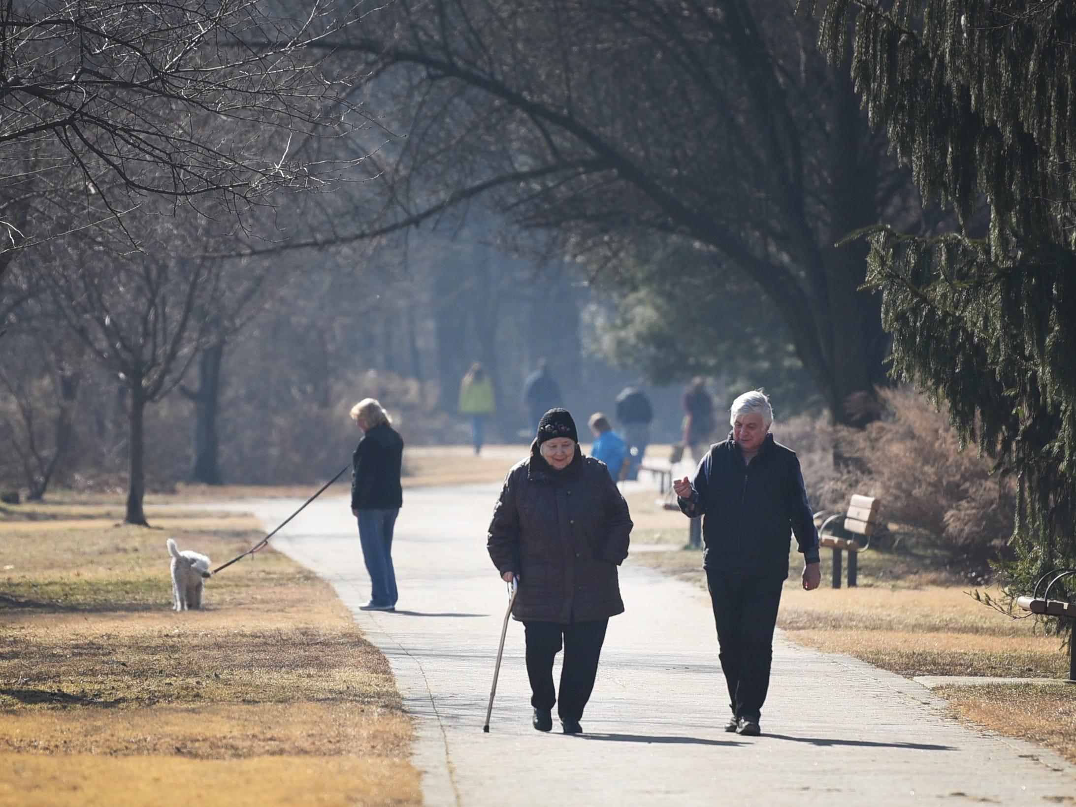 People enjoy the unseasonably warm weather at Van Saun County Park in Paramus on 02/05/19.