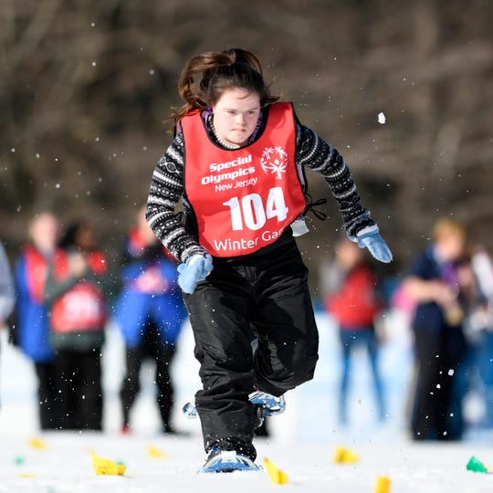 Julia Luciani of Wanaque competes in the 200-meter snowshoe during the Special Olympics New Jersey 2019 Winter Games on Tuesday, Feb. 5, 2019, in Vernon.