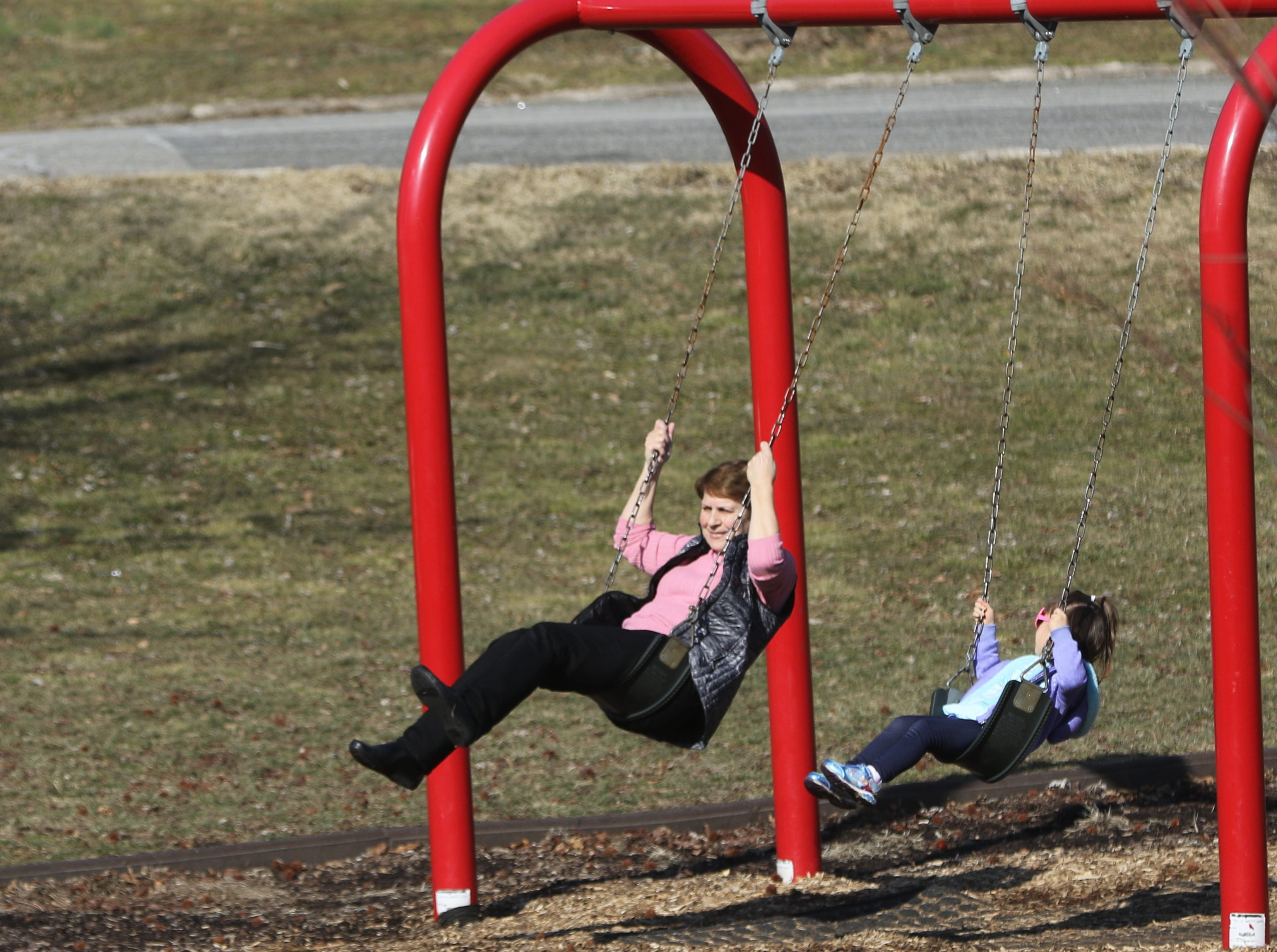 People in Third Ward Park took advantage of temperatures in the mid 60's by using the playground in Passaic. Tuesday, February 5, 2019