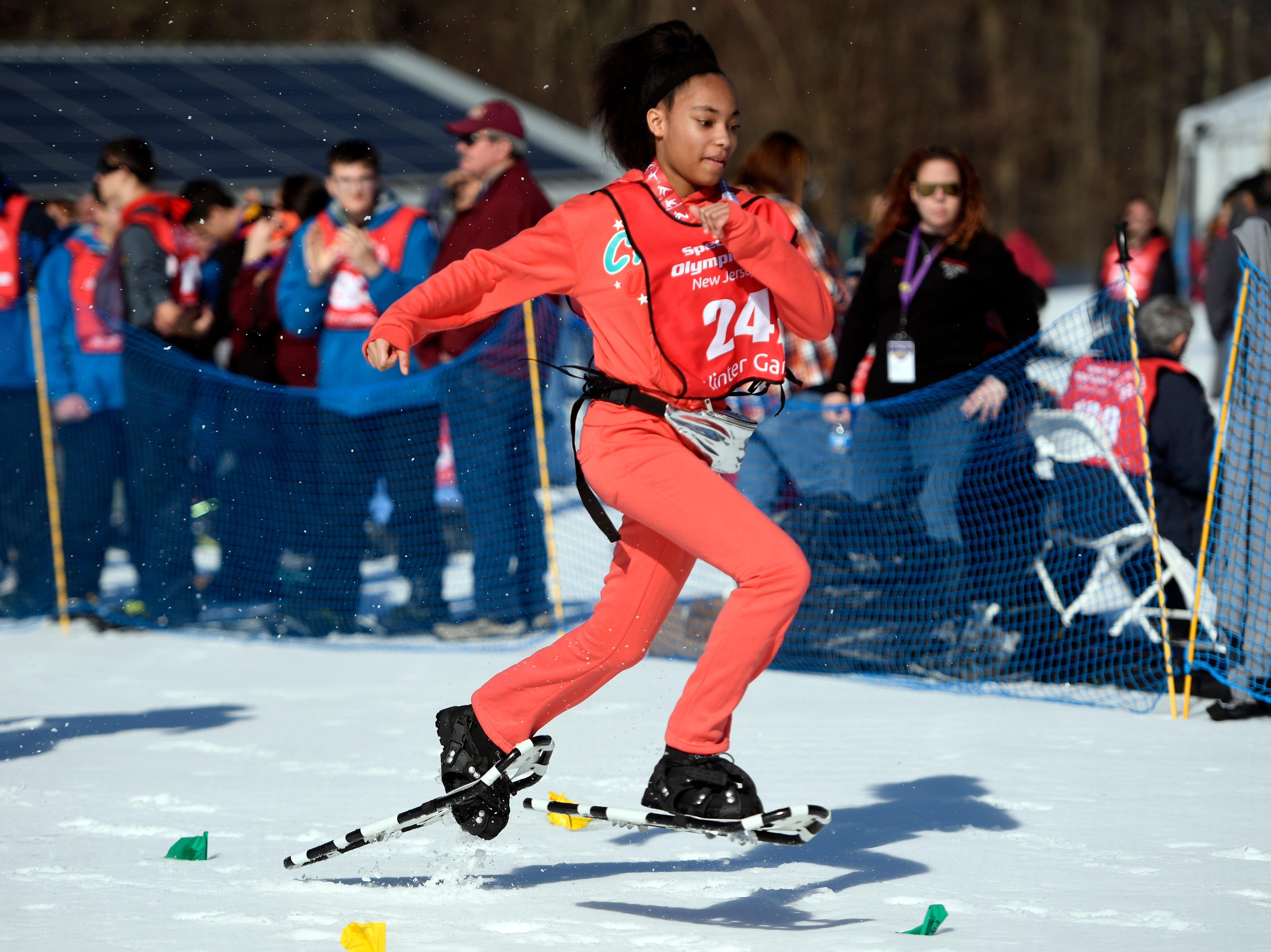 Taniyah Brooks of Newark competes in the snowshoeing 200-meter during the Special Olympics New Jersey 2019 Winter Games on Tuesday, Feb. 5, 2019, in Vernon.