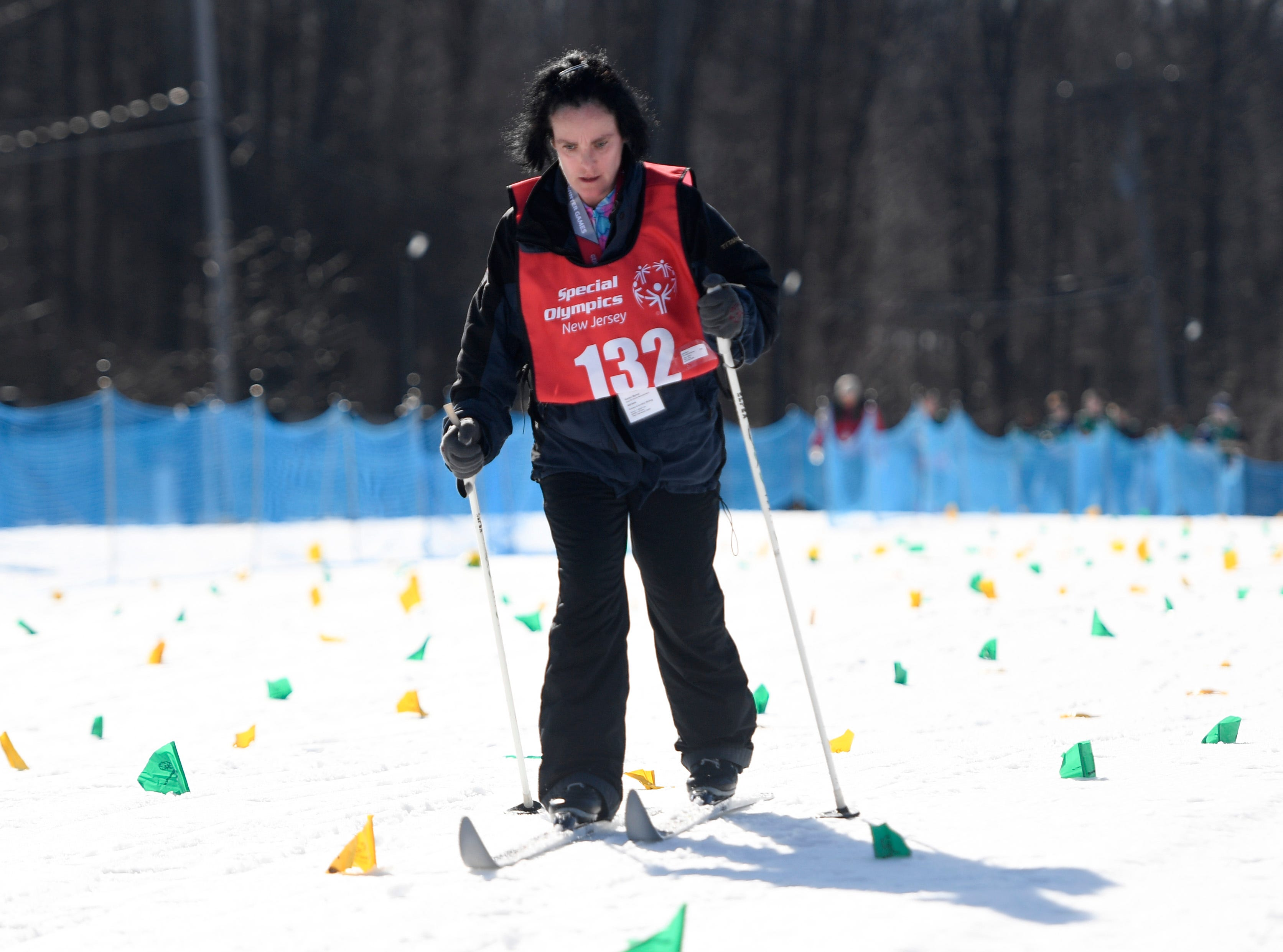 Karen Byrne of Maywood finishes the 1K cross-country skiing final during the Special Olympics New Jersey 2019 Winter Games on Tuesday, Feb. 5, 2019, in Vernon.