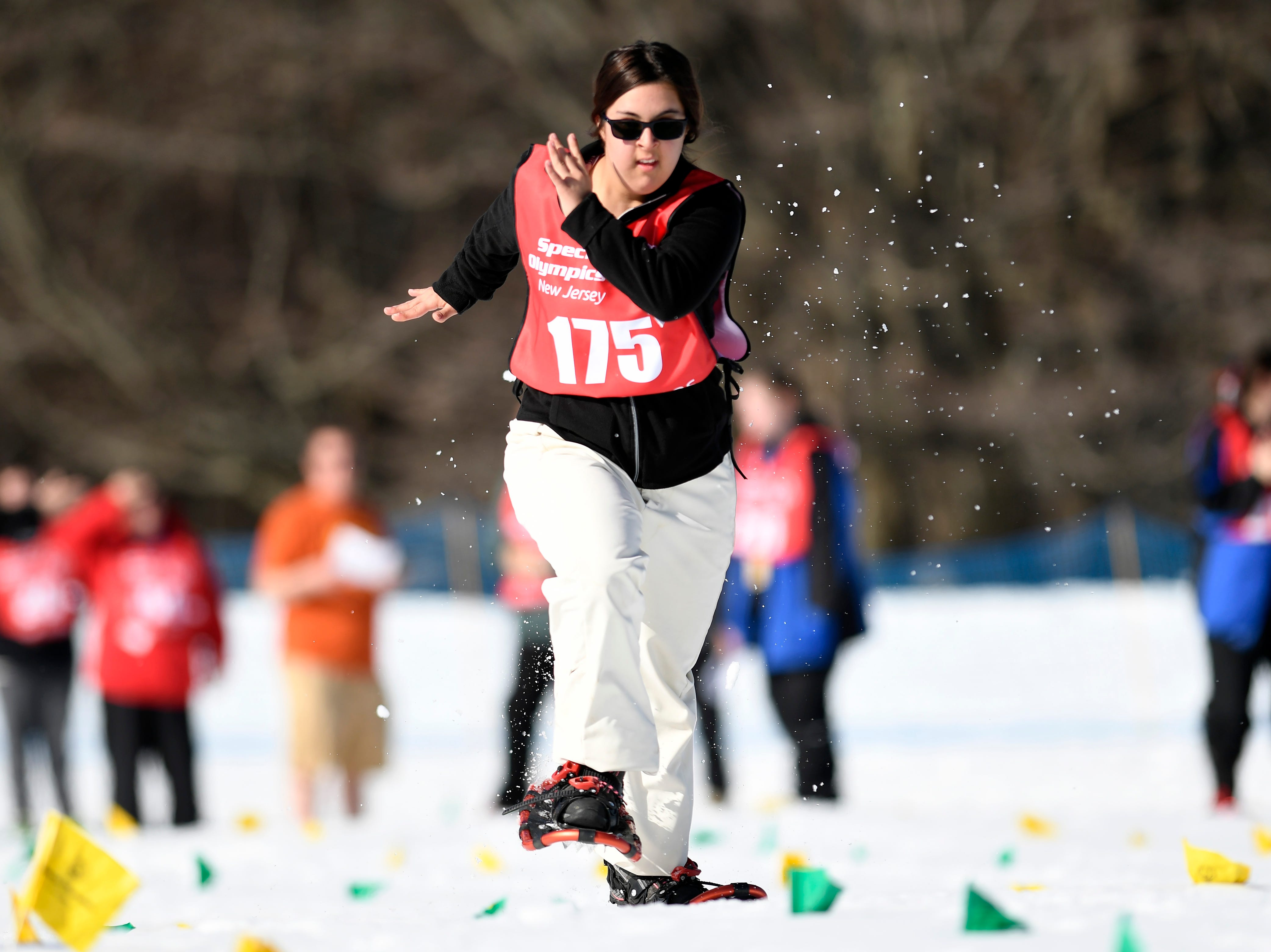 Bailey Fluke of Whitehouse Station competes in the snowshoeing 200-meter during the Special Olympics New Jersey 2019 Winter Games on Tuesday, Feb. 5, 2019, in Vernon.