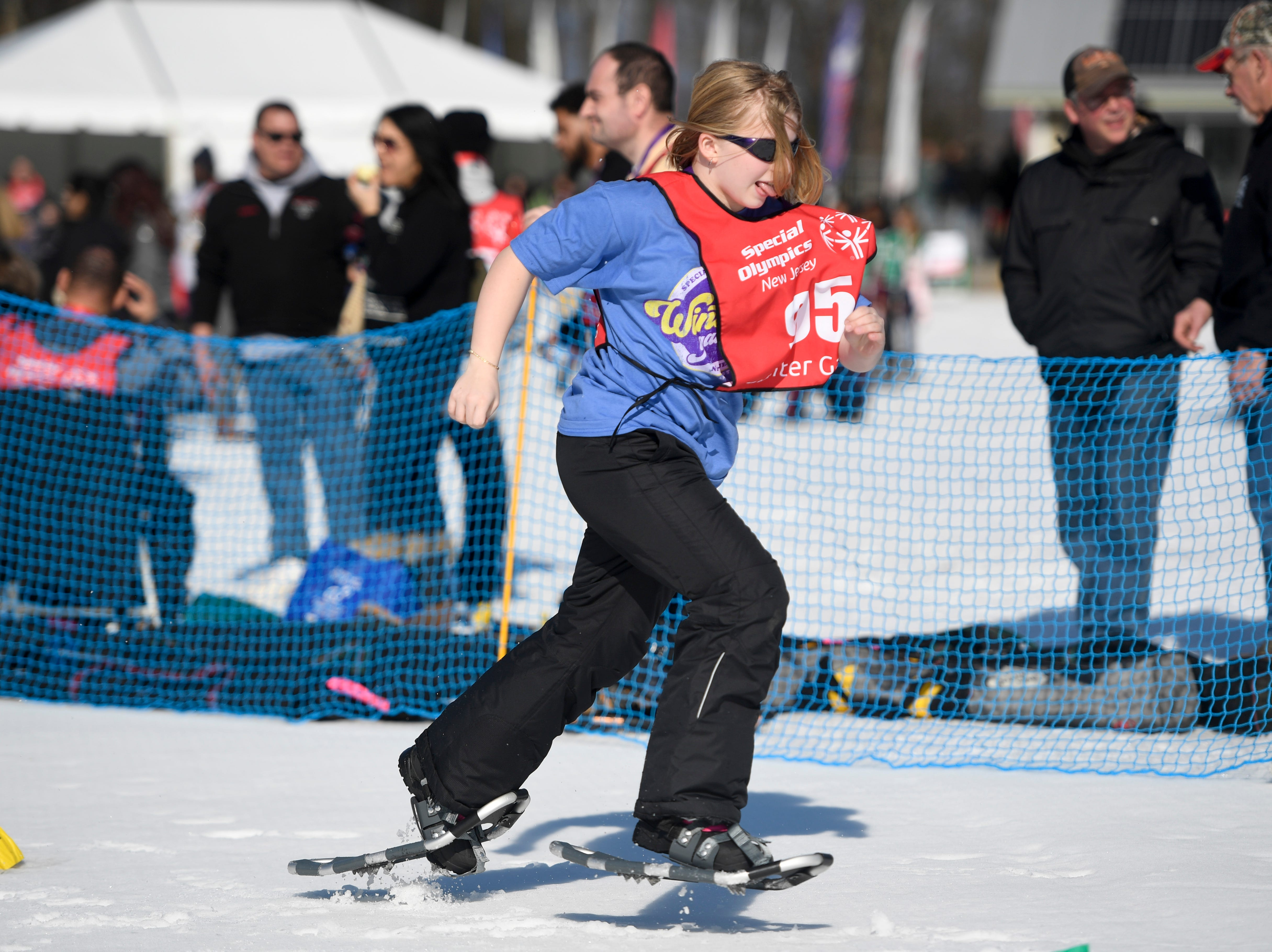 Lexi Bonin of Garfield competes in the snowshoeing 200-meter during the Special Olympics New Jersey 2019 Winter Games on Tuesday, Feb. 5, 2019, in Vernon.