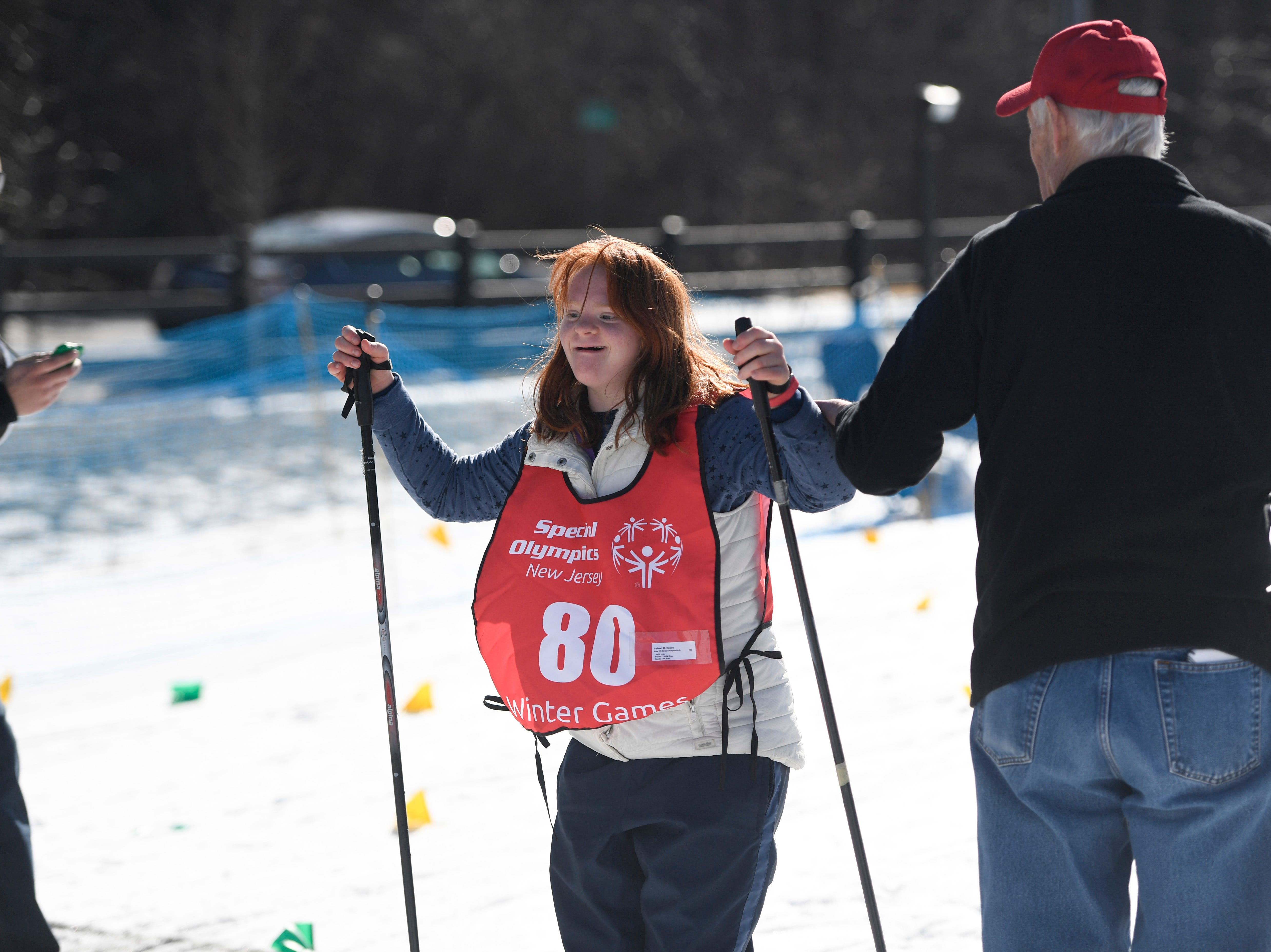 Ireland Kosco of Cream Ridge finishes the 1K cross-country skiing final during the Special Olympics New Jersey 2019 Winter Games on Tuesday, Feb. 5, 2019, in Vernon.