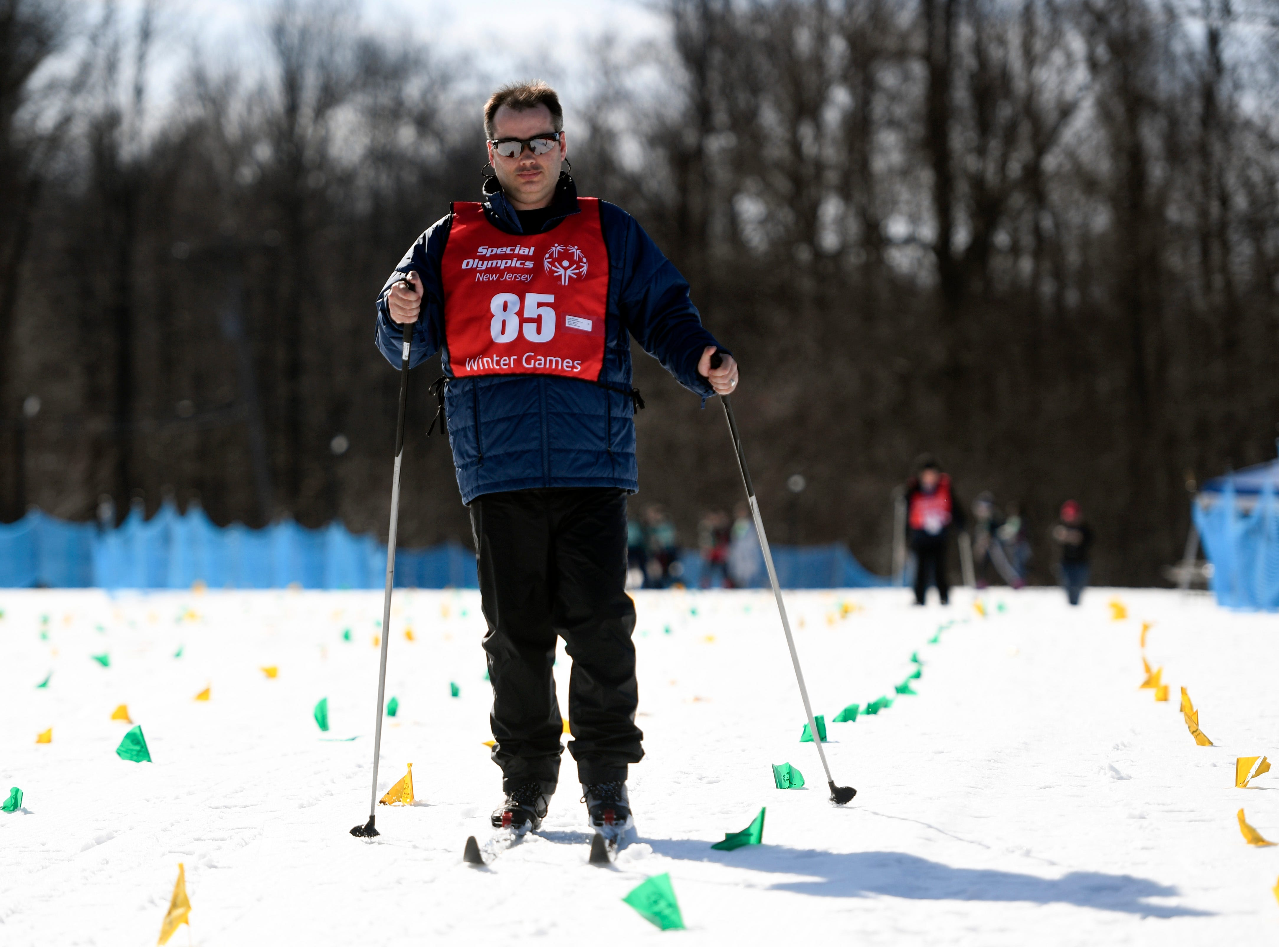 Kevin Petranich of Lawrenceville finishes the 1K cross-country skiing final during the Special Olympics New Jersey 2019 Winter Games on Tuesday, Feb. 5, 2019, in Vernon.