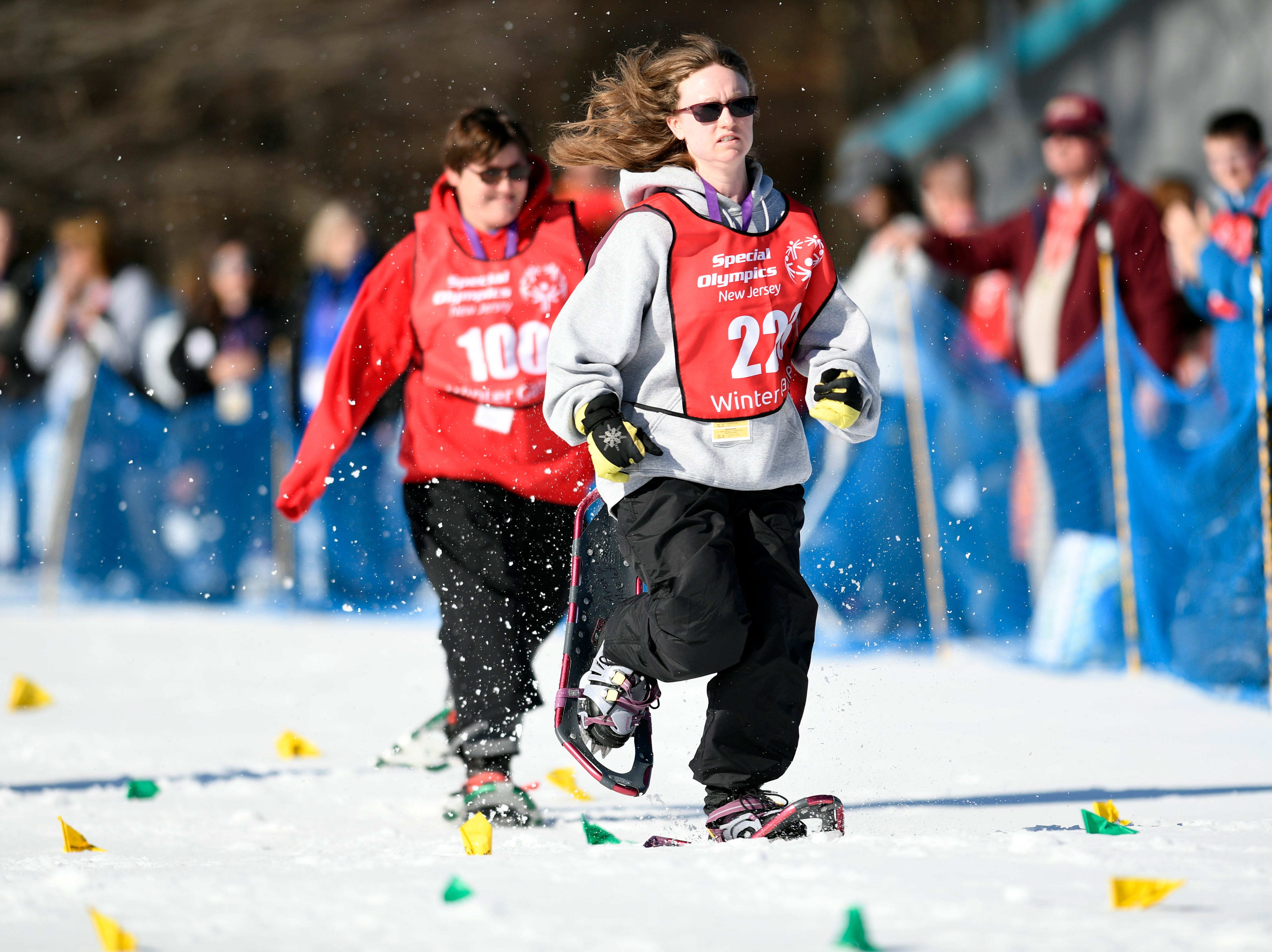 Melissa Connolly of Hazlet competes in the snowshoeing 200-meter during the Special Olympics New Jersey 2019 Winter Games on Tuesday, Feb. 5, 2019, in Vernon.