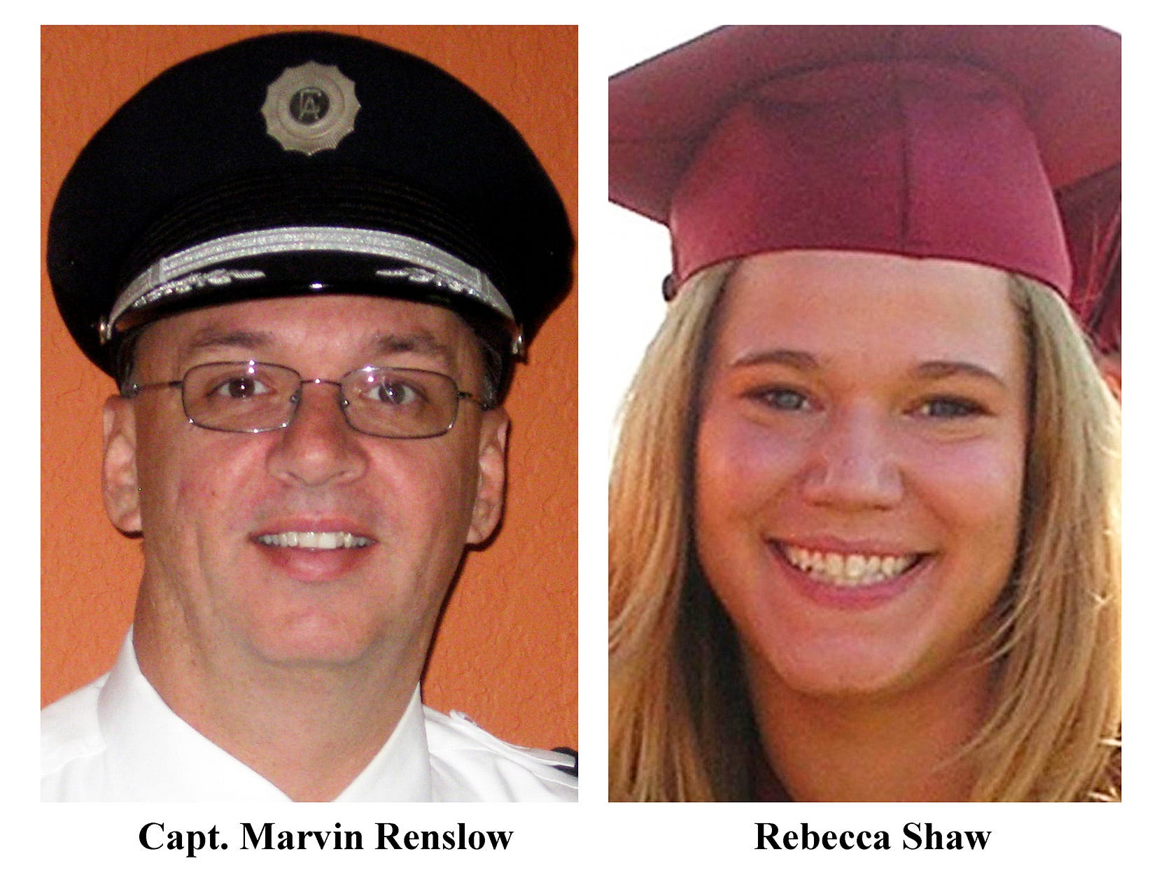 FILE - In this combo file photo, Capt. Marvin Renslow, left, and co-pilot Rebecca Shaw  are shown. Renslow was piloting Continental Connection Flight 3407, and Shaw was the co-pilot bound from Newark, N.J.,   Feb. 12, 2009,on approach to Buffalo Niagara International Airport when it went down in light snow and mist and crashed into a house below. All 49 people aboard and one person on the ground were killed. A cockpit voice recorder transcript released Tuesday May 12, 2009, by the National Transportation Safety Board , recounts their final moments.