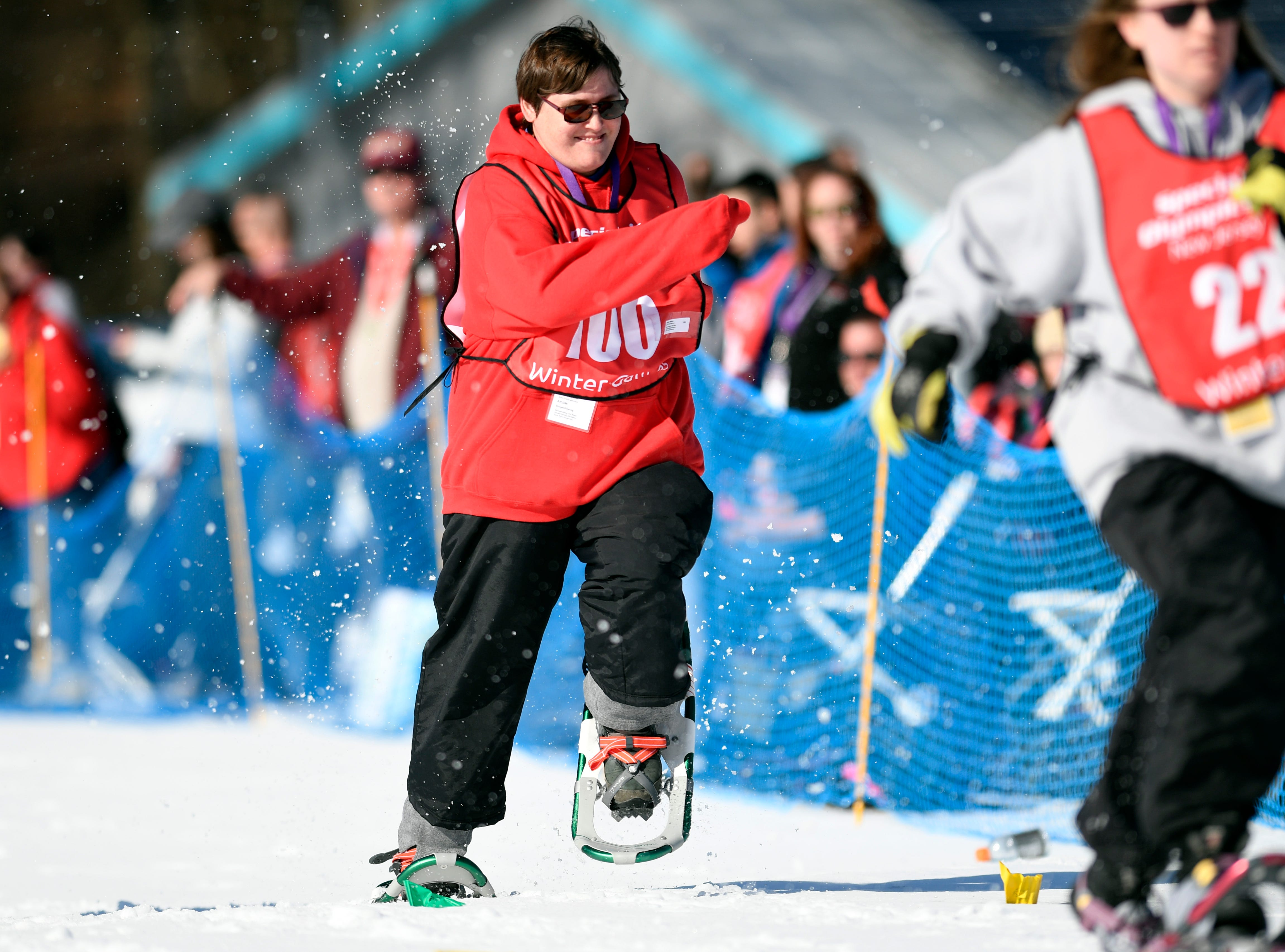 Nicole Bawiec of Bayonne competes in the snowshoeing 200-meter during the Special Olympics New Jersey 2019 Winter Games on Tuesday, Feb. 5, 2019, in Vernon.