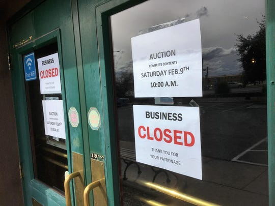 Signage at the front entrance to Dublin's Street Pub at 1745 E. University Ave. confirmed the business has closed and posted notice of an auction. Seen on Tuesday, Feb. 5, 2019.