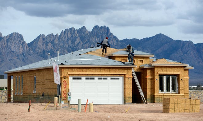 House under construction in Mesa Verde South development on Feb. 5, 2019.