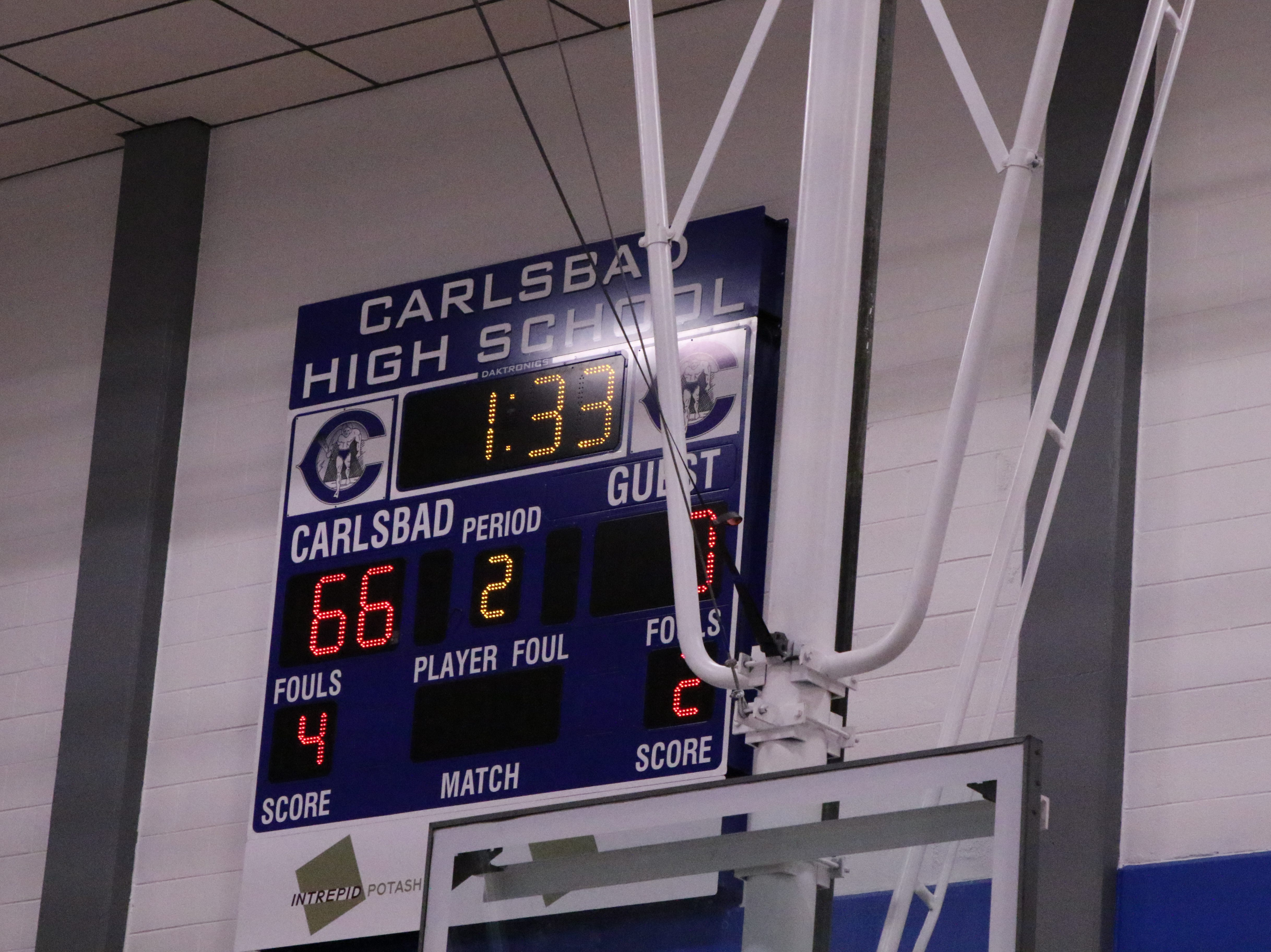 The score of the dual when Baca was injured. Carlsbad led, 66-0 with Baca up, 4-2.