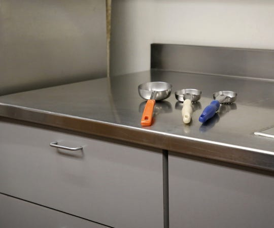 The Bonnie Dallas Senior Center uses utensils to measure the meal servings provided to clients.
