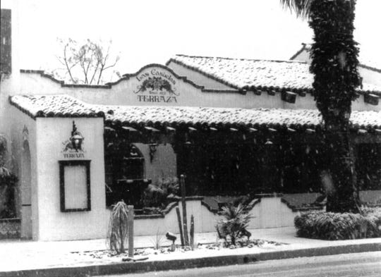Snow accumulates outside the newly opened Las Casuelas Terraza in downtown Palm Springs 40 years ago this week. Las Casuelas Terraza will donate 40 percent of sales on Feb. 5, 2019, to four local charities that are close to the family's hearts in celebration of its 40th anniversary.