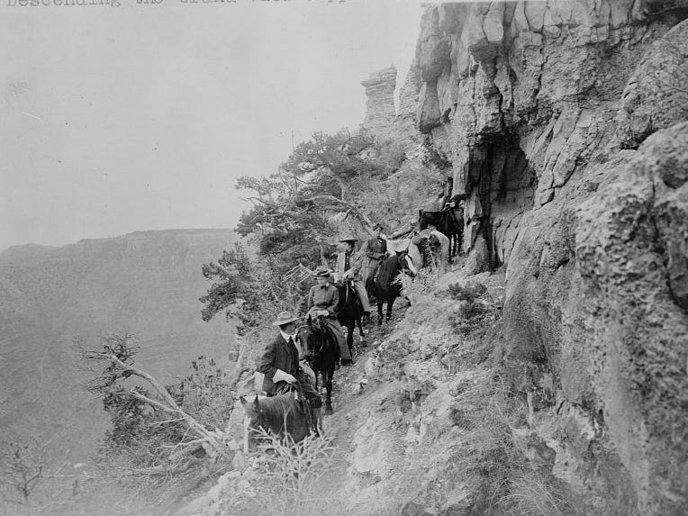 Descending the Grand View Copper Mine Trail, ca. 1910.