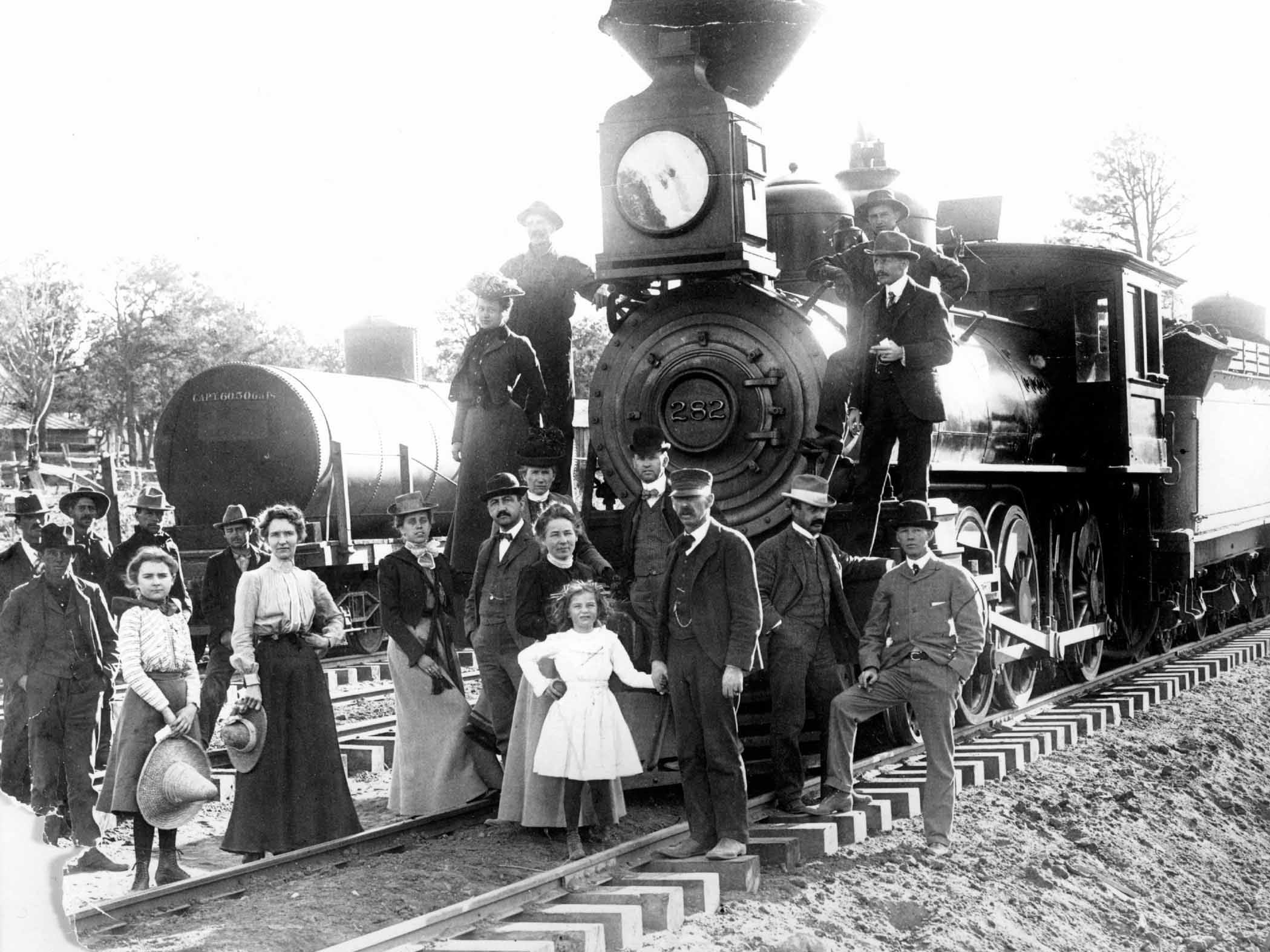 The first train to arrive at Grand Canyon Village, Sept. 17, 1901. The train would boost tourism exponentially.