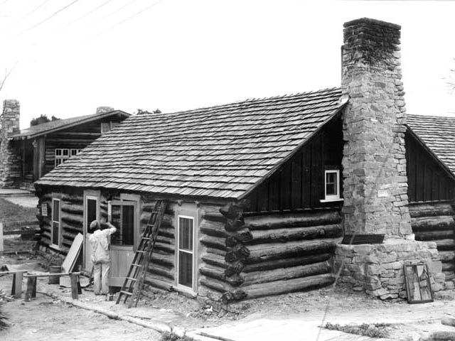 The northwest corner of the Bucky O'Neill cabin at the Bright Angel Lodge in June, 1935.
