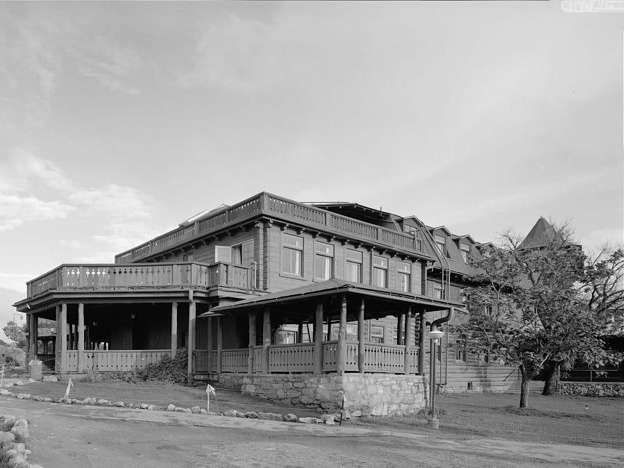 The Grand Canyon's historic El Tovar has retained its rustic look over the decades. This of its south side, which faces the canyon, was taken in 1974.