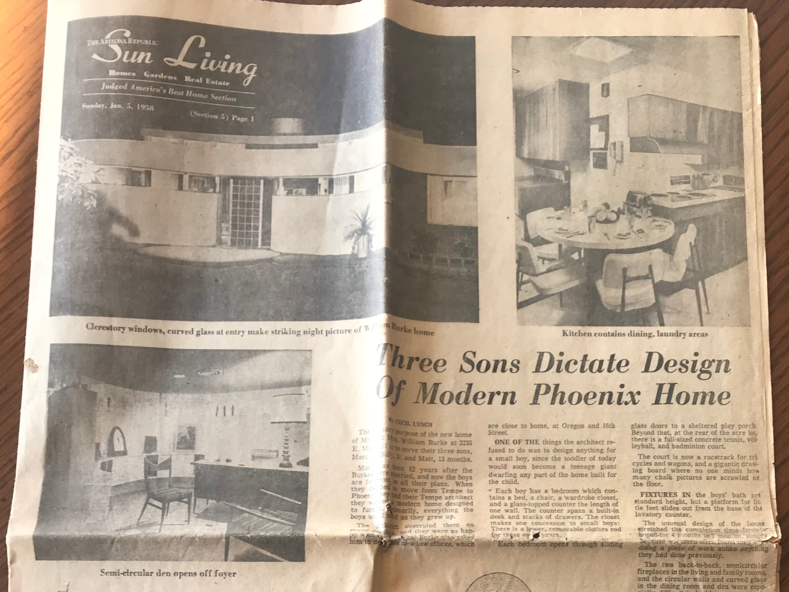 William Burke's childhood home in the Biltmore area was featured in The Arizona Republic's Sun Living section on Jan. 5, 1958. Some of the furniture from that home now furnishes the Sunnyslope home.