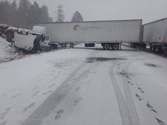 Jackknifed truck blocking southbound traffic on Interstate 17 at milepost 333 near Flagstaff