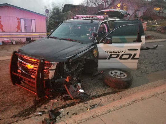 Prescott police say a man lead officers on a pursuit and collided with one of the vehicles on Monday.