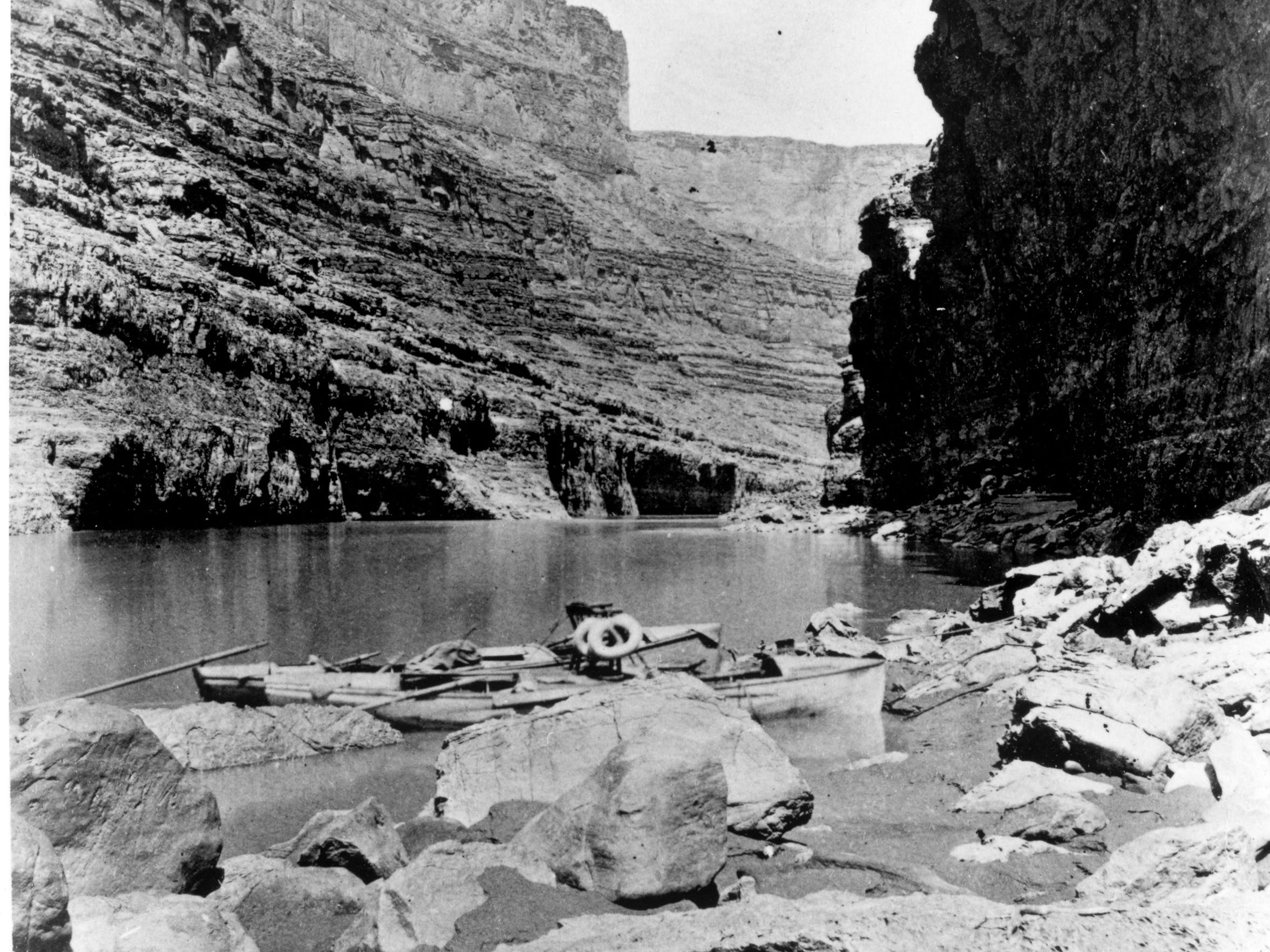 Boats from John Wesley Powell's second expedition in 1872 wait in Marble Canyon.