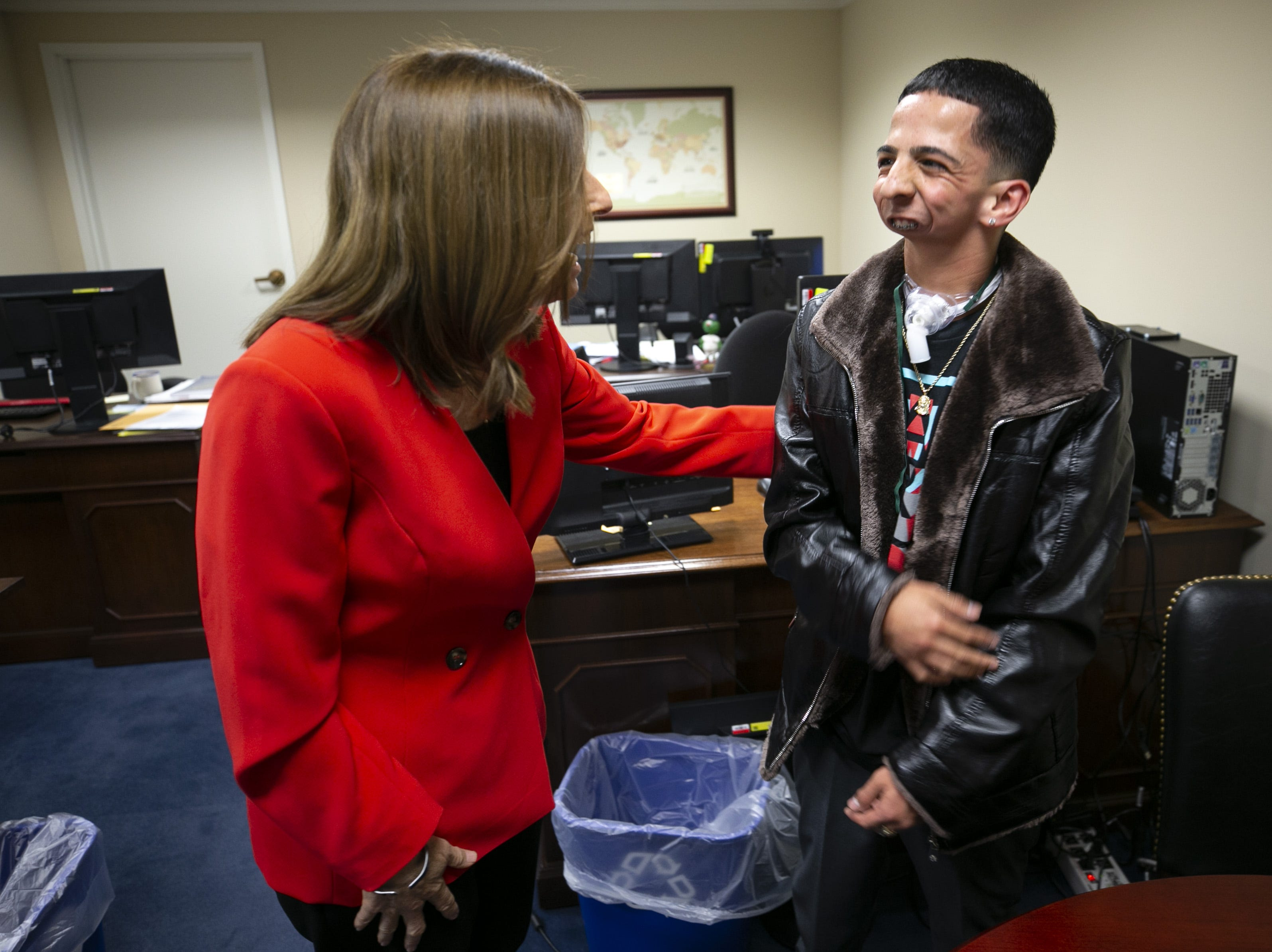 U.S. Sen. Martha McSally, R-Ariz., talks with Isaiah Acosta, a 19-year-old rapper from Phoenix, at McSally's office at the Dirksen Senate Office Building in Washington, D.C., on Feb. 5, 2019. Acosta will be McSally's guest at the State of the Union.