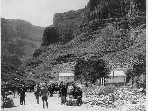 A tourist camp 3,100 feet below the rim, Ca. early 1900s.