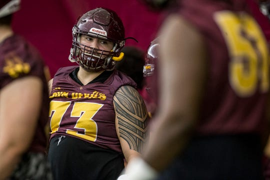 Cohl Cabral lines up for a drill during practice on Tuesday, Feb. 5, 2019, at the Verde Dickey Dome in Tempe, Ariz.