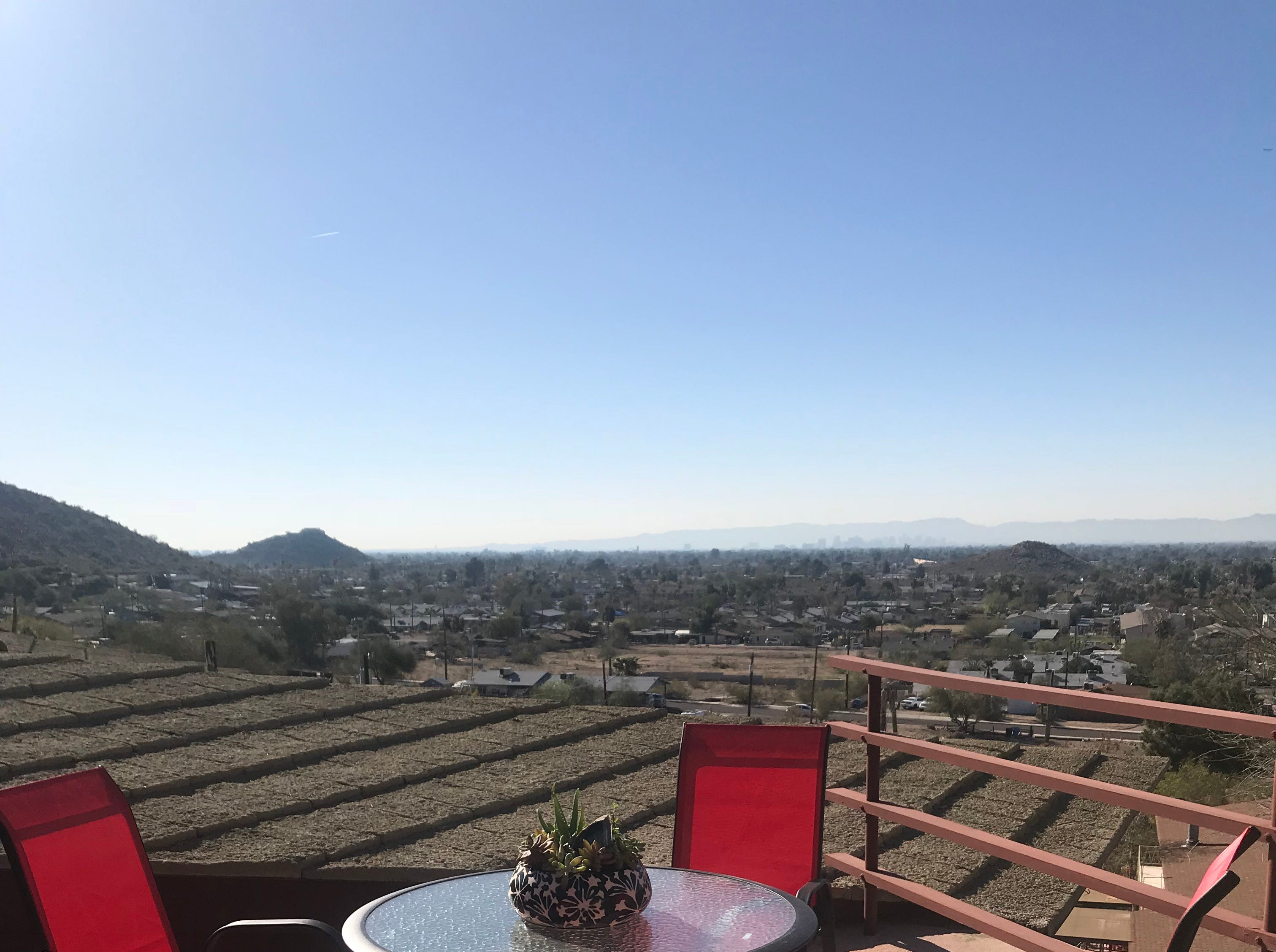 This view from the upper deck shows the view toward downtown Phoenix and South Mountain.