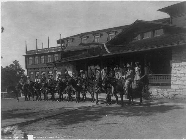 A mule train prepares to depart from the El Tovar Hotel, ca. early 1900s.