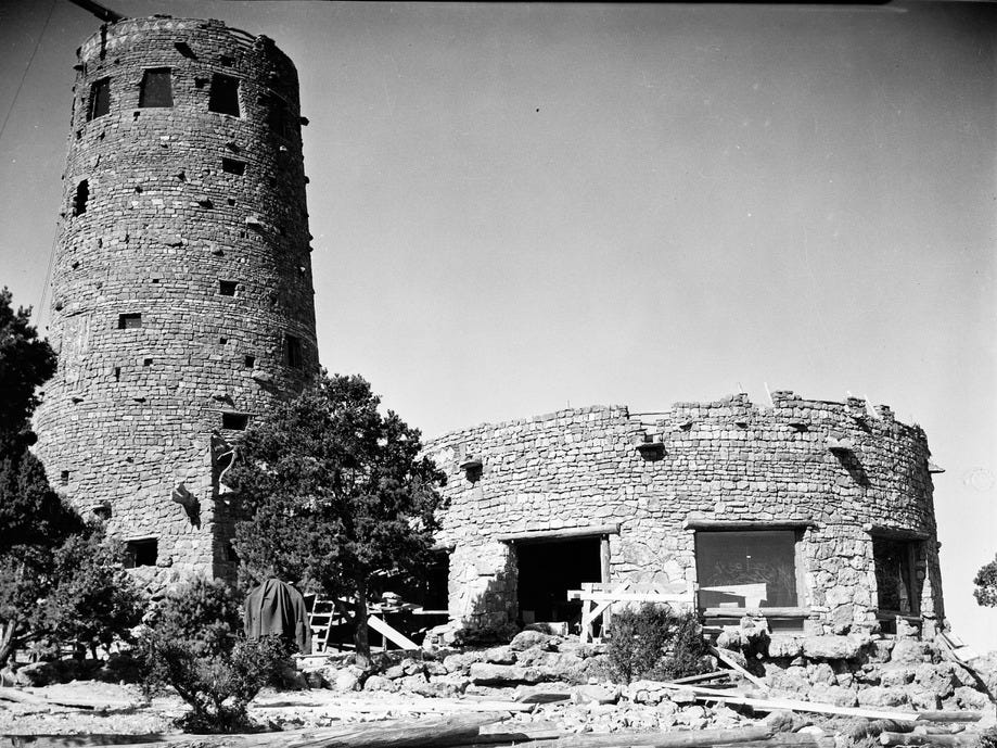 The Desert View Watchtower under construction, ca. 1932.