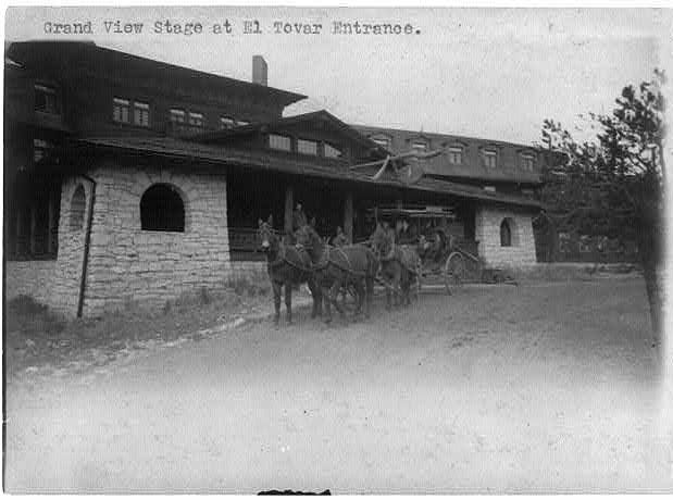 At the El Tovar Hotel, visitors would board the stagecoach for tours or a short ride to the train depot