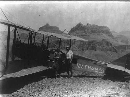 In August 1922, pilot R.V. Thomas landed the first plane at the Grand Canyon.