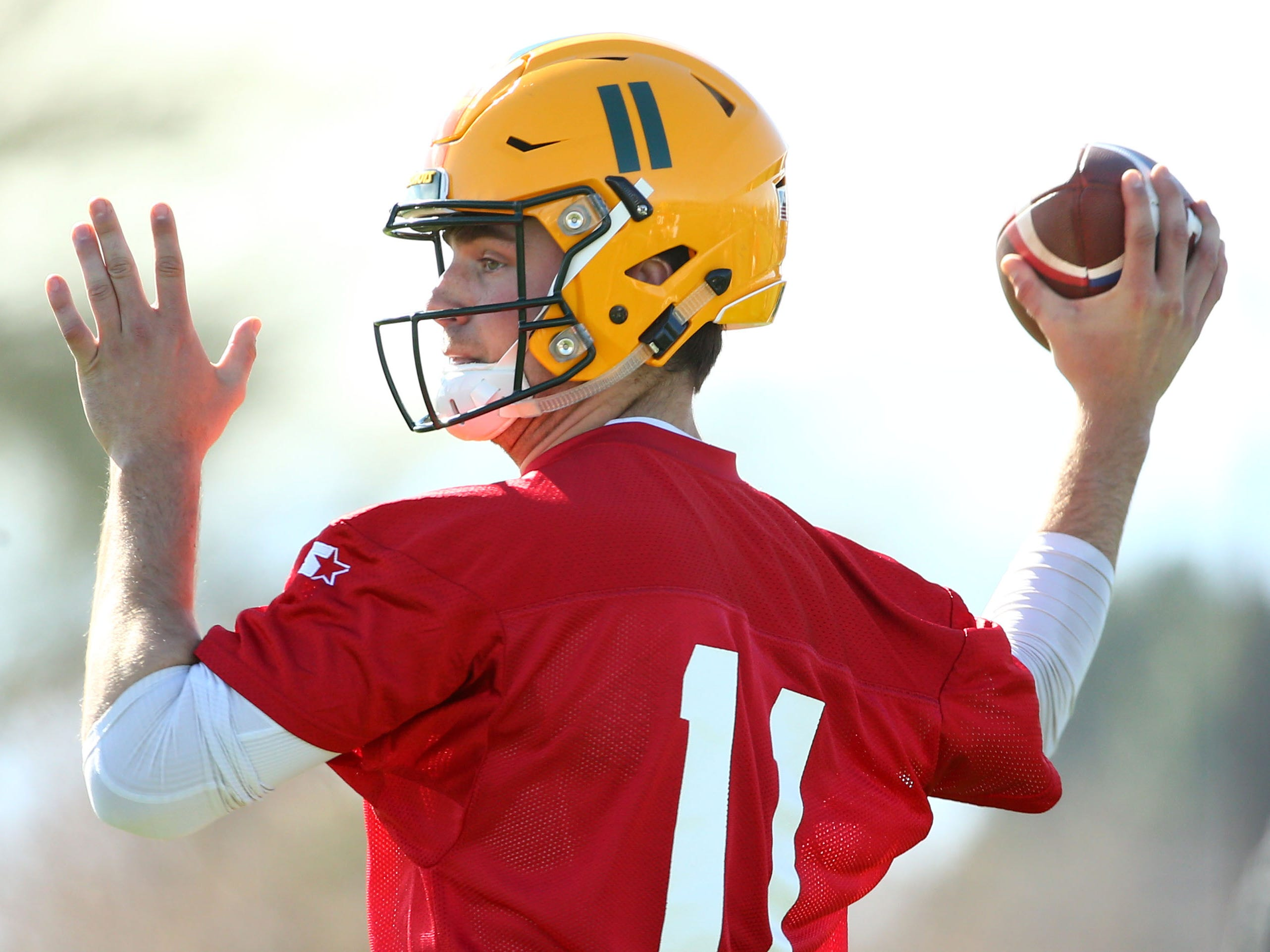 Arizona Hotshots quarterback Jack Heneghan is seen during practice Feb. 5 at State Farm Stadium.