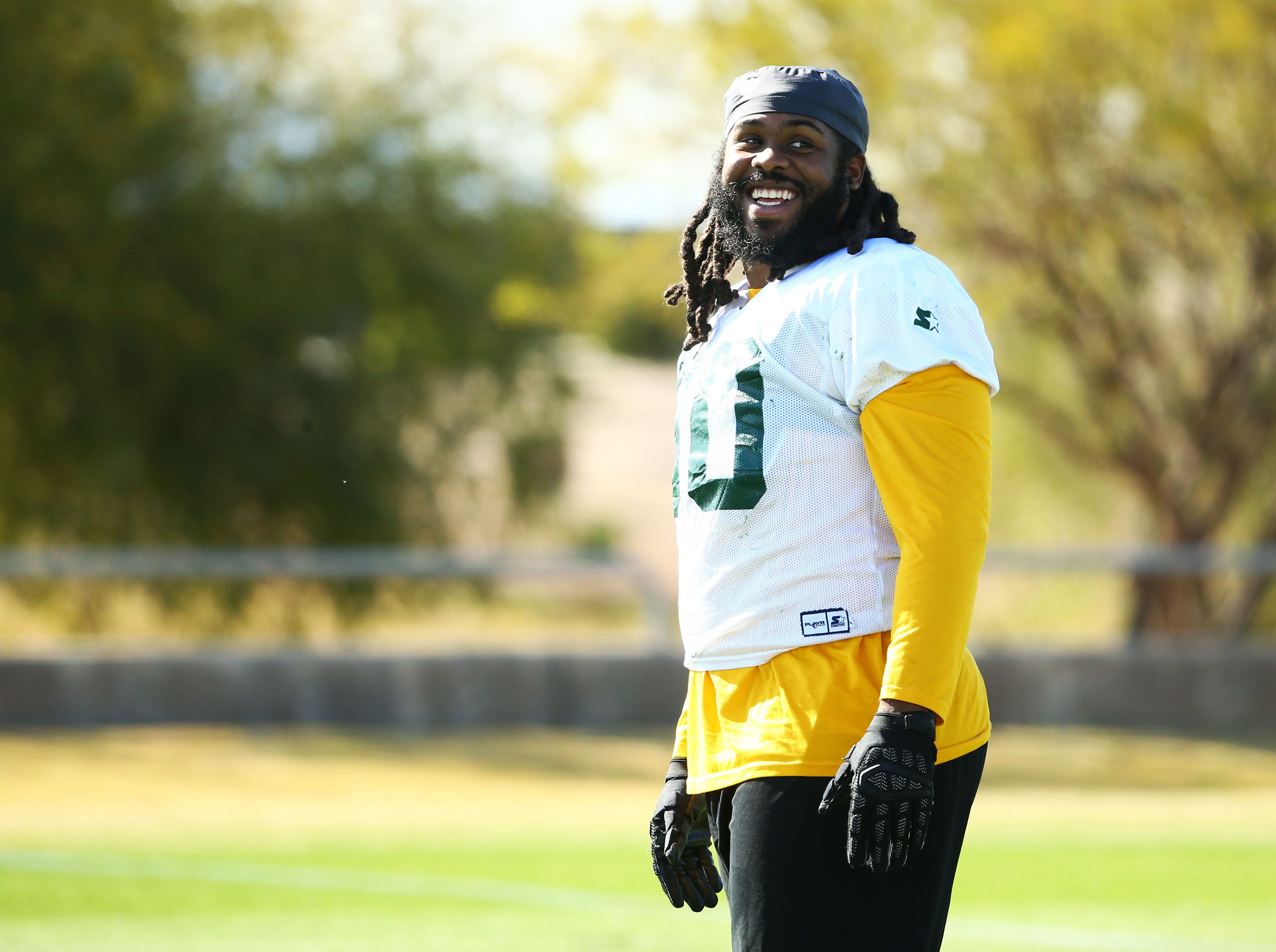 Hotshots defensive tackle Will Sutton (90) smiles during a practice Feb. 5 at State Farm Stadium.
