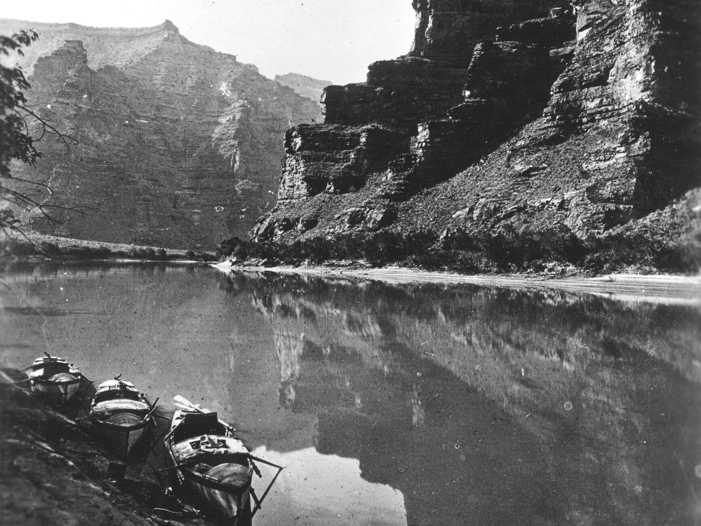A photo from John Wesley Powell's second expedition through the Grand Canyon in 1871.