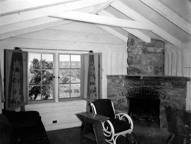 The Grand Canyon is seen though the window of a rim cabin at the Bright Angel Lodge, ca. 1936.