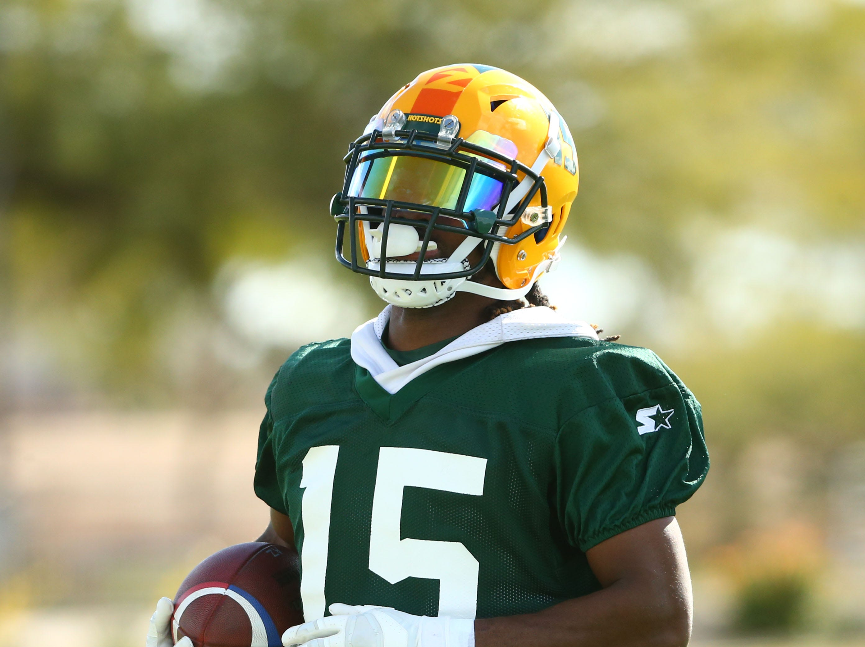 Hotshots receiver Rashad Ross (15) is seen during a practice Feb. 5 at State Farm Stadium.