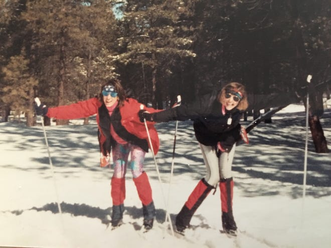 I wore the coat cross-country skiing in Flagstaff with then roommate Susan Schoch. The cold never seeped through.