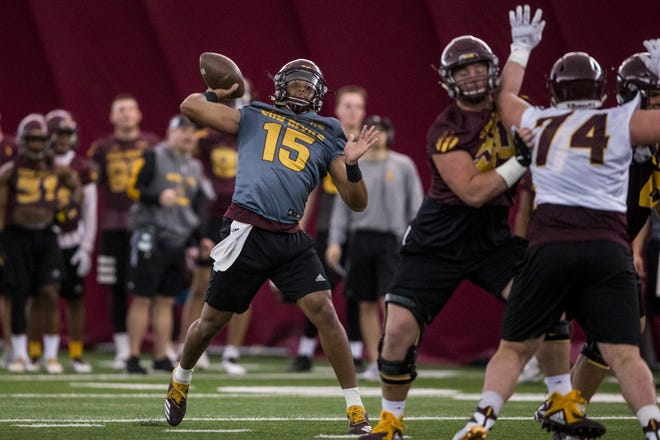 Dillon Sterling-Cole throws during practice on Tuesday, Feb. 5, 2019, at the Verde Dickey Dome in Tempe, Ariz.