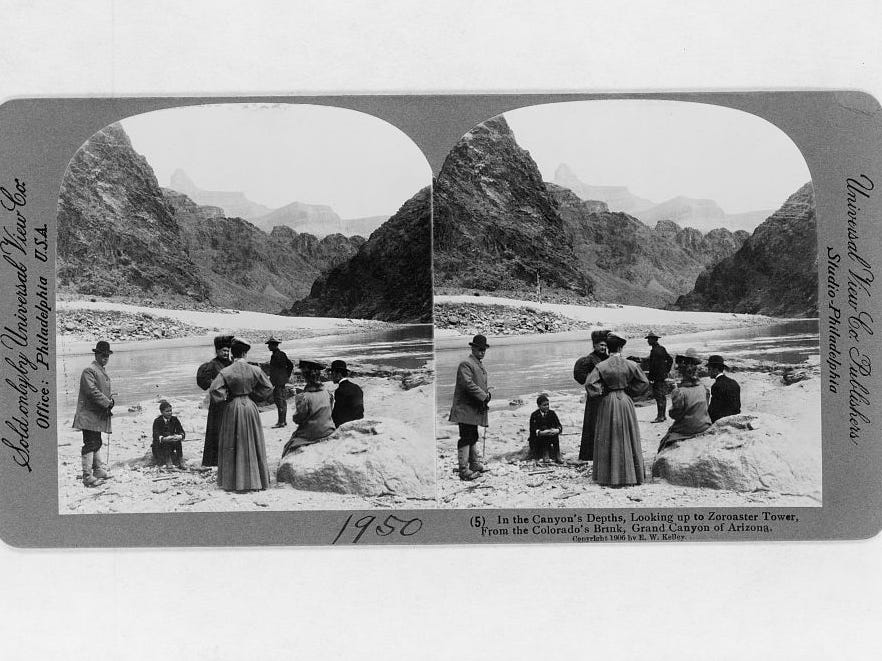 A stereoscopic card from the early 1900s shows tourists relaxing at the bottom of the Grand Canyon.