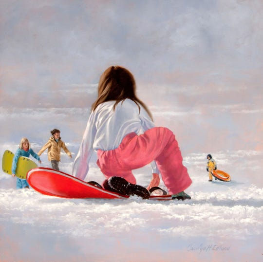 "Queen City 15 Gallery exhibits ""Sledding"" by Carolyn Edlund."