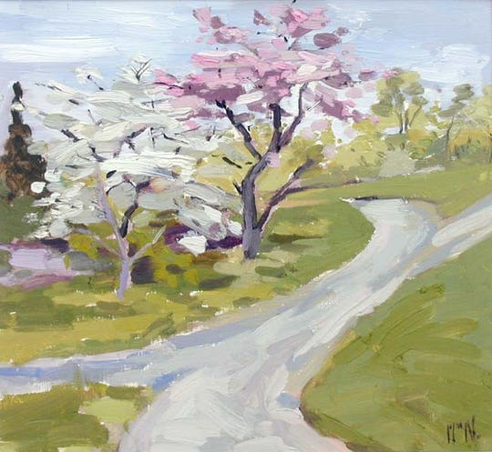 William Noonan exhibits this piece showing the promise of spring at Queen City 15 Gallery.