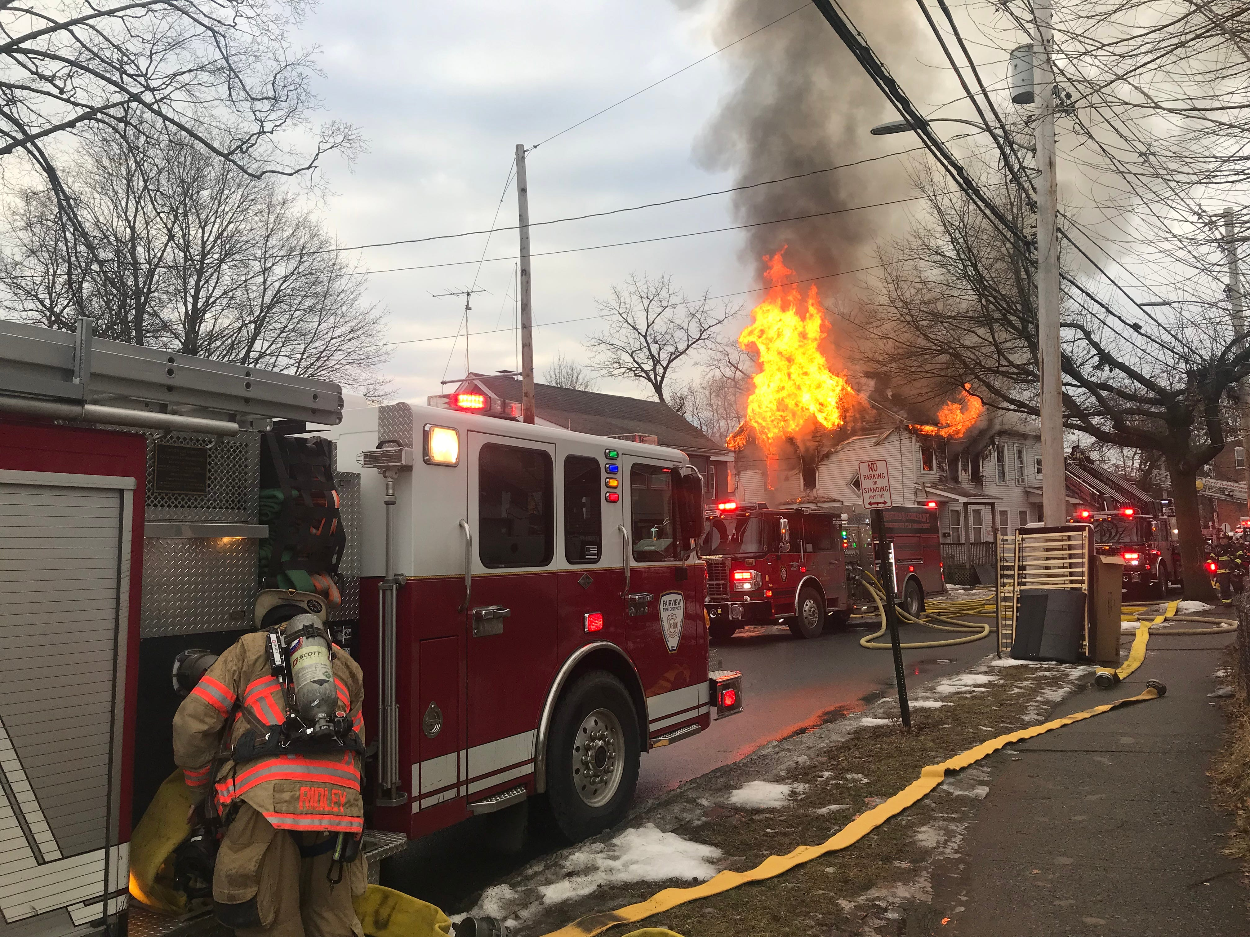 Firefighters responded to a blaze on Winnikee Avenue Tuesday morning.