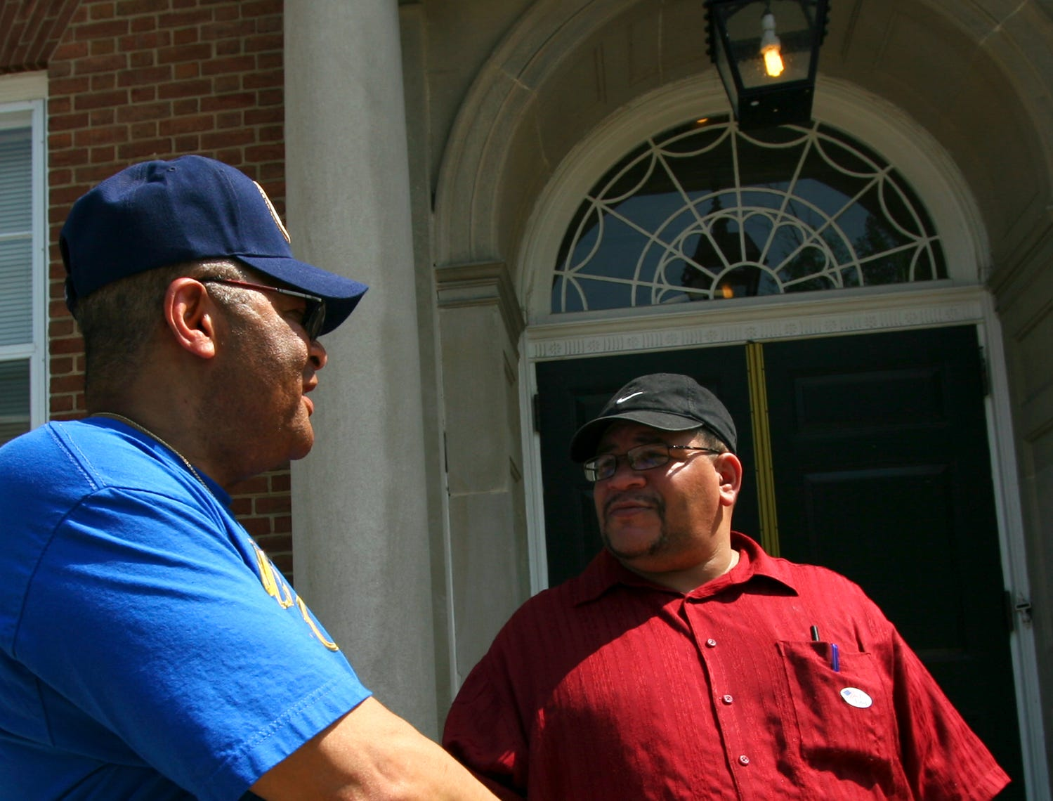 Twenty-six year City Council member, Lee Smallwood, greets York City Regional Coordinator for the Democratic party, Stephen Hawkins, outside the YWCA polling station in York City on Tuesday May 15, 2007.York Dispatch File