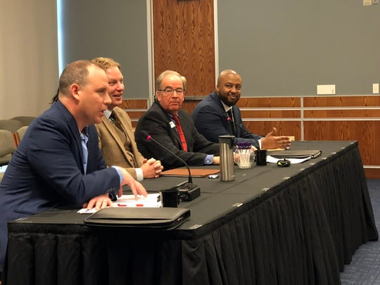 Panelists discuss technical education and workforce development before the House Democratic Policy Committee at the York City School District administration building Thursday, Jan. 31.  L to R: Tom Palisin, executive director of The Manufacturers' Association; Kevin Schreiber, president and CEO of the York County Economic Alliance; John Lloyd, president and CEO of MANTEC; Eric Ramsay, director of the state Apprenticeship and Training Office